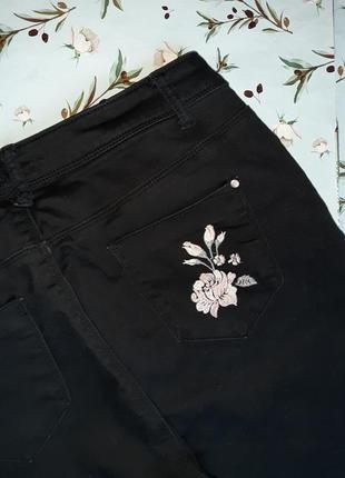 🎁1+1=3 черные зауженные узкие черные джинсы с высокой посадкой peacocks, размер 50 - 524 фото