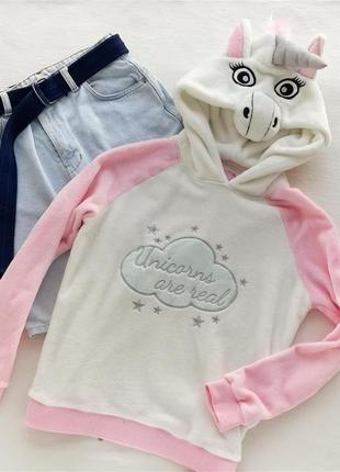 Плюшевый свитшот толстовка пижама с единорогом