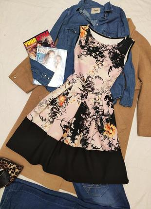 Boohoo платье чёрное белое розовое в цветочный принт миди свободное