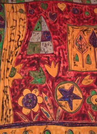 Оригинальный винтажный шелковый платок