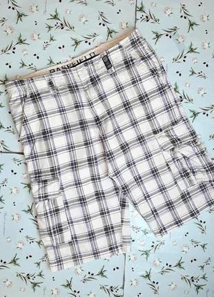 🎁1+1=3 модные белые шорты карго хлопок в клетку с карманами basefield, размер 46 - 48