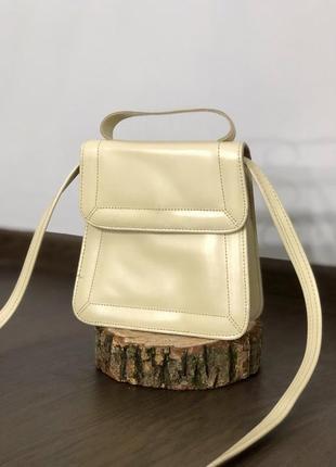Кожаная мини сумочка цвета ivory на длинной и короткой ручке