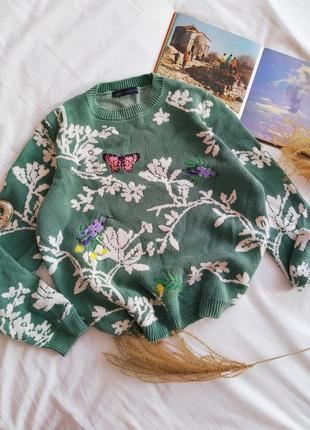 Зеленый свитер в цветы m&s