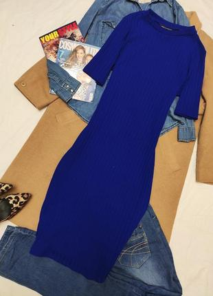 Платье резинка миди синее электрик футболка водолазка по фигуре карандаш дороти перкинс