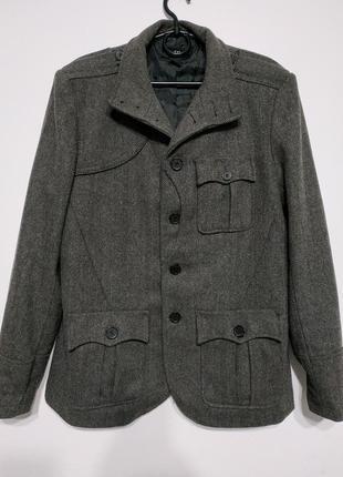 Xl 52 сост нов h&m пальто мужское демисезонное узор ёлочка