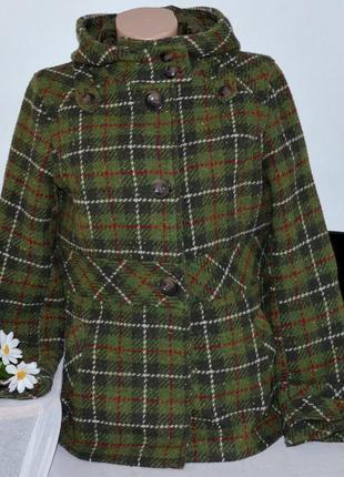 Брендовое шерстяное демисезонное пальто полупальто с капюшоном и карманами в клетку next
