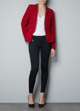 Брендовый твидовый пиджак жакет блейзер зои харт или сердце дикси zara марокко этикетка