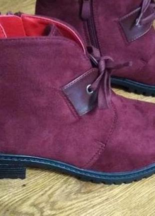 Мягенькие замшевые женские ботинки 37 р в цвете марсала