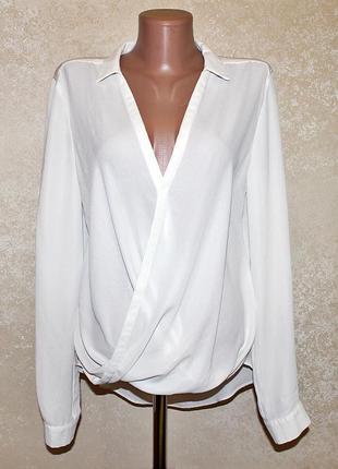 Нарядная белая шифоновая блуза на запах river island размер 12