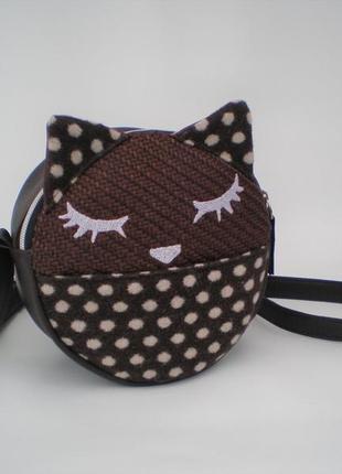 """Акция!!! круглая сумка кросс-боди, сумка через плечо """"кошечка"""" handmade"""