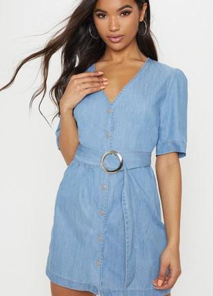 Prettylittlething.товар из англии.джинсовое платье халат с поясом.