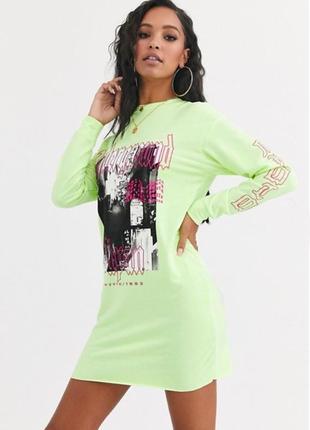 Asos. неоновое платье с ярким граффити в потрясающем ярком дизайне.