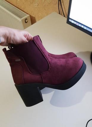 Фирменные ботинки сапожки mustang испания оригинал на толстом каблуке6 фото