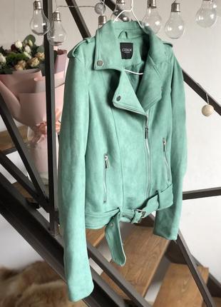 Кожаная куртка косуха с пояском замшевая авиатор мятная zara