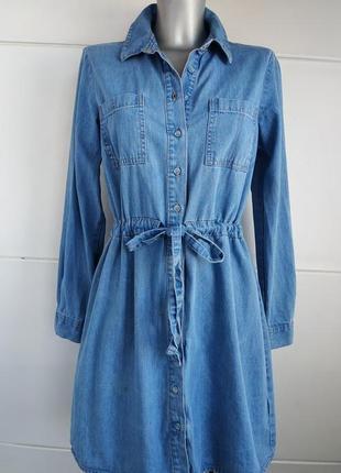 Джинсовое платье denim рубашечного кроя с накладными карманами