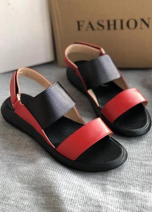 Красные сандалии, босоножки из натуральной кожи