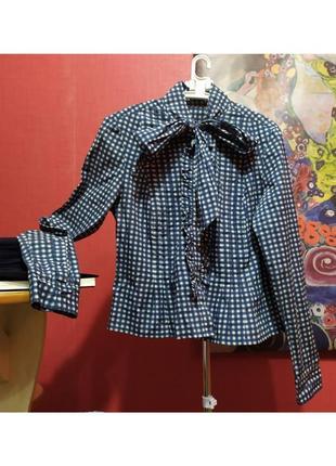 Невероятно стильная блуза в клетку с бантом