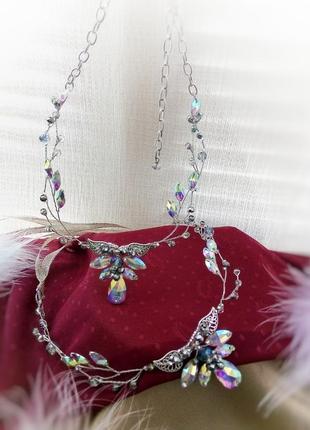 Эльфийская ветвь радужная - комплект из колье и налобного украшения/ ободка