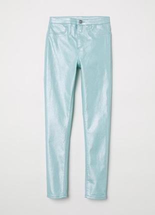 Мятные джинсы стрейч h&m