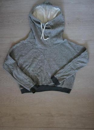 Классная укороченная толстовка свитшот свитер худи 100% котон drywash