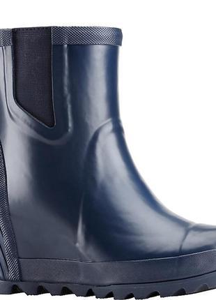 Короткие резиновые сапоги на платформе бренда sorel, joan™ rain wedge chelsea boot