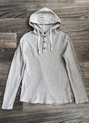 Серый хлопковый пуловер с пуговицами и капюшоном джемпер худи толстовка кофта h&m l.o.g.g.
