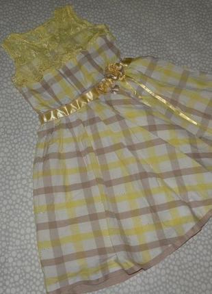 Нарядное платье в клетку 10-12 лет