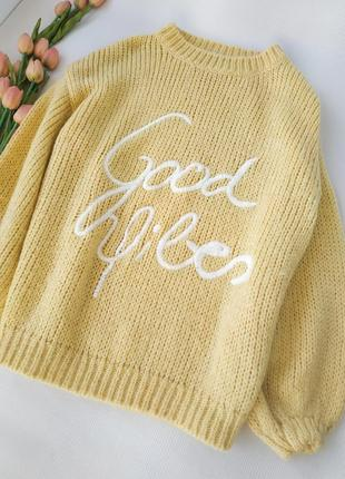 Мохеровый оверсайз свитер желтого цвета  размер s-m-l