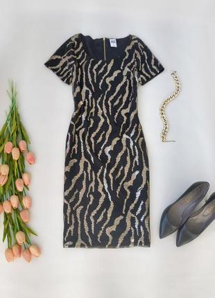 Шикарное платье с пайетками в тигровый принт от vero moda размер s-m