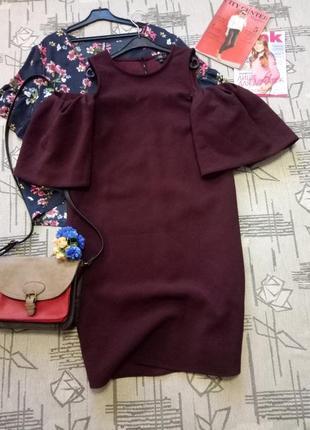 Шикарное стильное платье  с пышными рукавами!  river island,  размер s-m
