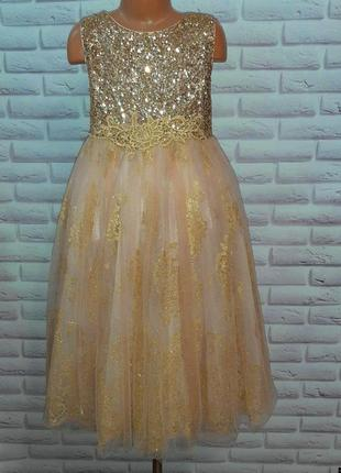 Шикарное золотистое нарядное платье monsoon