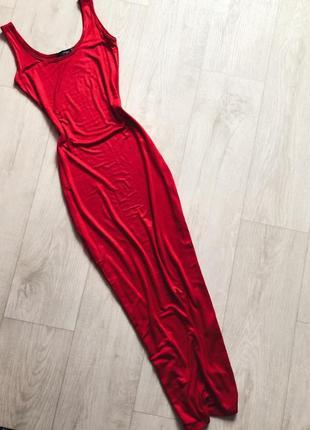 Красное платье макси майка boohoo