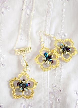 "Набор: сережки и кулон ""цветы и грезы"""