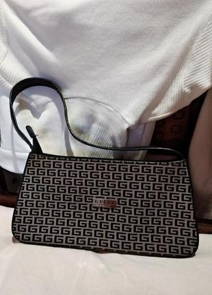 Винтажная сумка багет на плечо принт гуччи черная коричневая