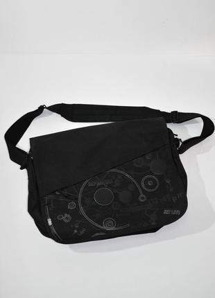 Черная мужская текстильная  сумка-мессенджер через плечо house accessores. код 1146.