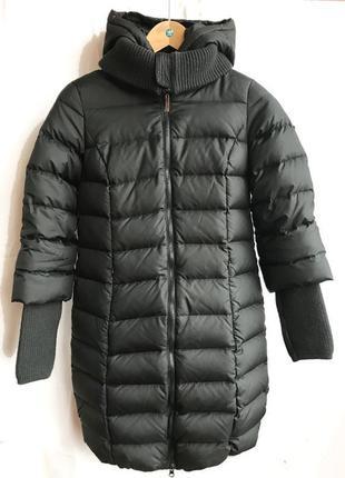 Пуховое пальто с опушкой из натурального меха baon xs 34