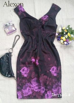 Открытое платье из англии, дорогой бренд - фиолетовые цветы