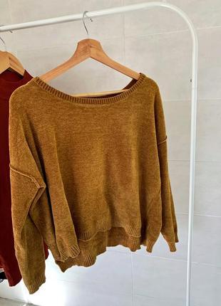 Гірчичний велюровий светр, фасон вільний