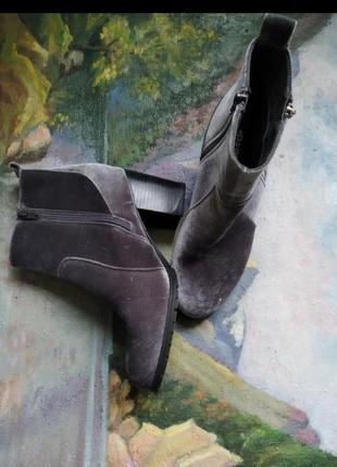 Велюровые сапоги ботинки на тракторной подошве весенние сапоги