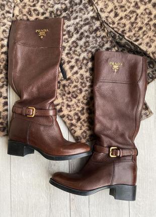 Кожаные сапоги, чоботи шкіряні prada оригинал