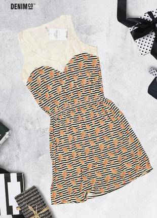 Платье в полоску с кружевным верхом denim co