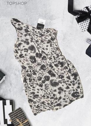 Леопардовое платье на одно плечо topshop
