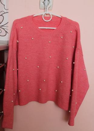 Пудровый свитер с бучинками, свитерок, кофта 50-52 р.