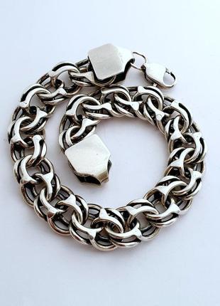 Серебряный браслет, длина 23.5 см.