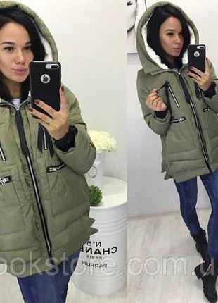 Женская куртка парка трансформер с карманами зеленая (хаки)