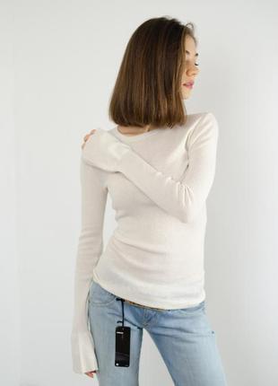 Massimo dutti базовый джемпер с шелка и шерсти с воланом на рукаве, кофта шелковая