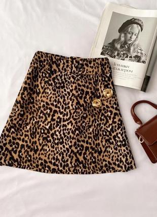Идеальная юбка с ремешком принт лео