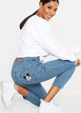🌿брендовые, стильные джинсы мом disney от boohoo.  размер м🌿