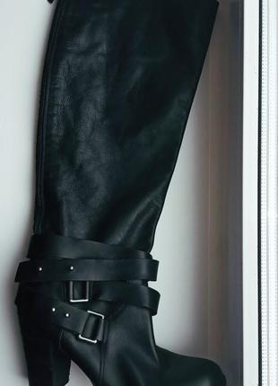 Высокие кожаные сапоги ботфорты nine west 41'5-42! супер кожа!