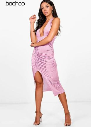 Розовое облегающее платье с завязками boohoo